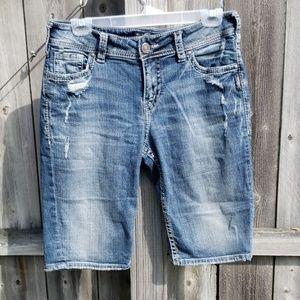 Silver Suki Bermuda Jean Shorts with Super Stretch